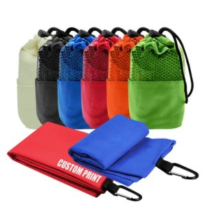 ATTW011 – Microfiber Suede Sports Towel with carabiner hook and pouch