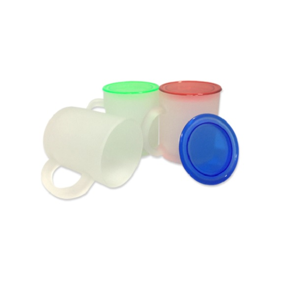 DWMU054 – 10oz Frosty Glass Mug with Colored Cover