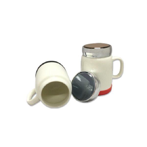DWMU086 – 400ml Porcelain Mug silver lid & Silicon Base