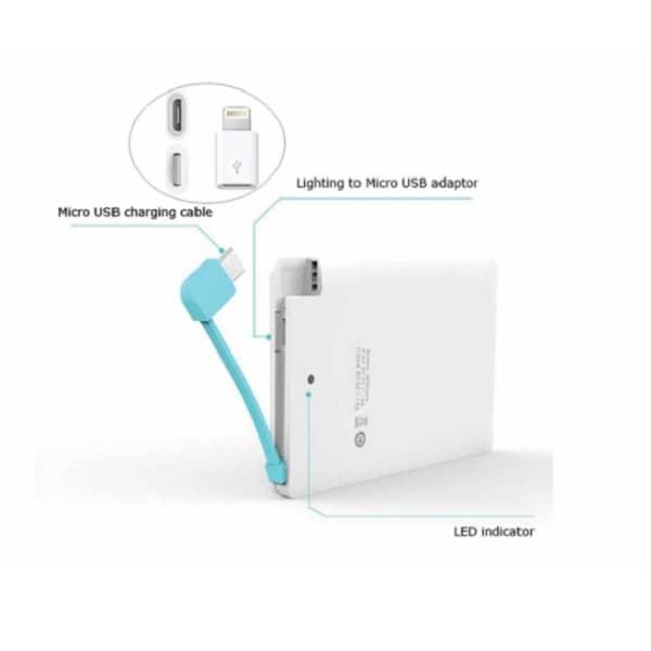 ITPB052 – 2,500mAh Slim Powerbank w/ Micro USB & iPhone Pin
