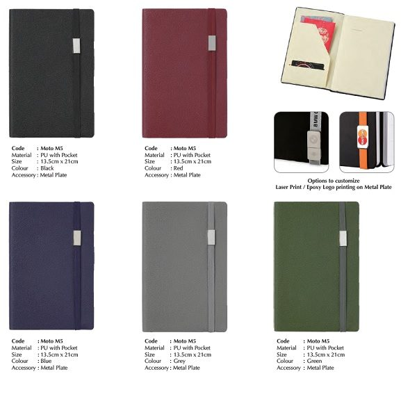 STNB009 – Moto Notebook A5 Soft PU Cover with Metal Plate