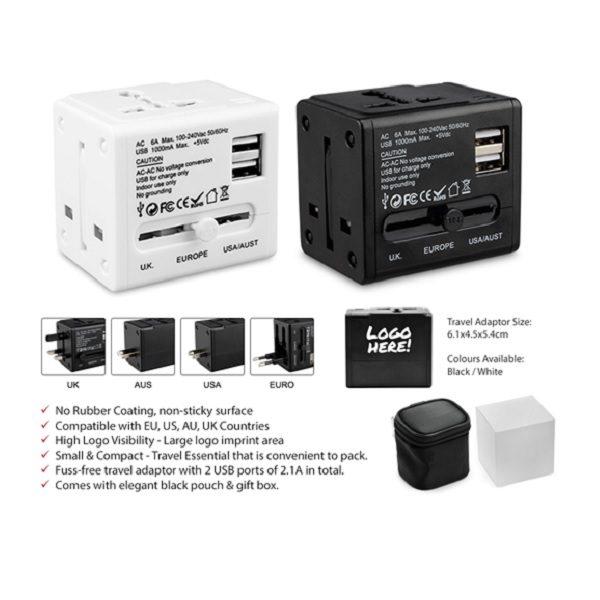 LFTA037 – Travel Adaptor with 2 USB Port