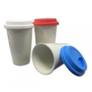 DWMU092 – Double Wall Ceramic Mug with Coloured Silicon Lid