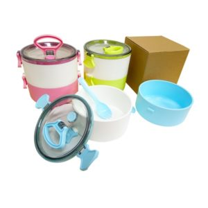 LFLB019 – 2-Tier Lunch Box with 2-in-1 fork and spoon
