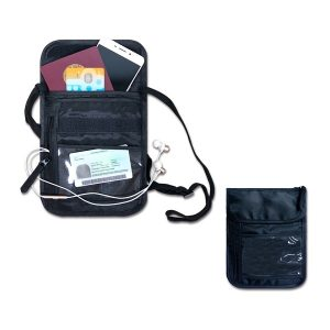BGOT032 – Nylon Neck Travel Pouch with 4 slots & 2 zips