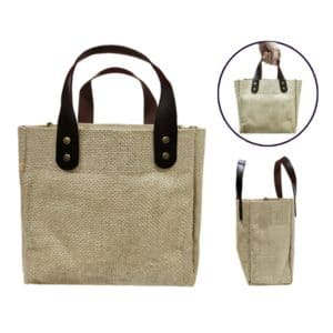 BGTS081 – Jute Tote Bag with PU Leather handles (Small)
