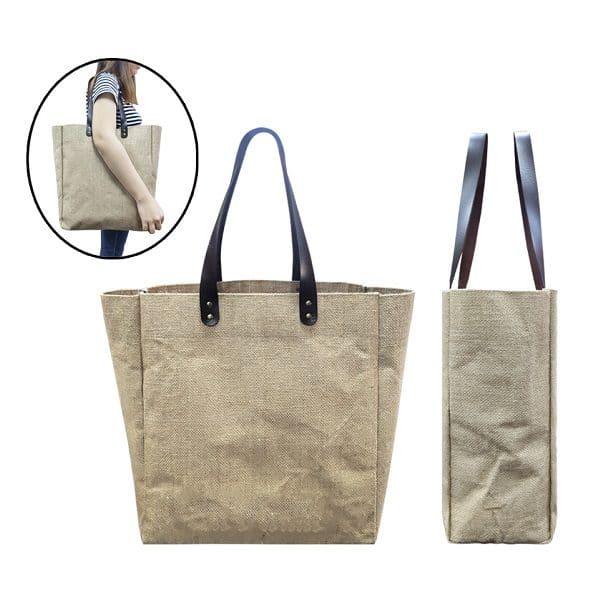BGTS082 – Jute Tote Bag with PU Leather handles (Big)