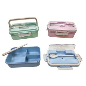 LFLB022 – Wheat Straw Bento Lunch Box c/w Spoon and chopsticks
