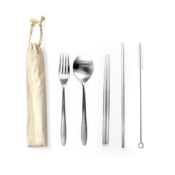 LFCS016 – Stainless Steel 5 pcs cutlery set with straw