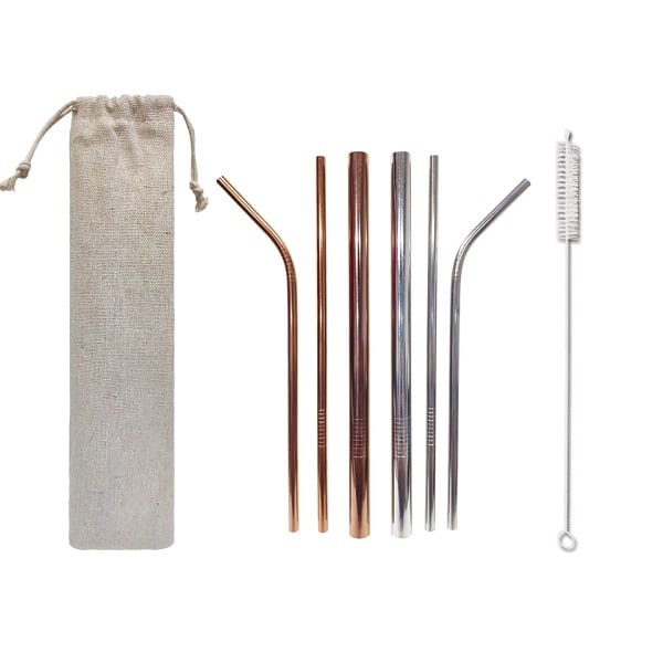 LFOT234 - Stainless Steel 3 piece straw set with brush and pouch