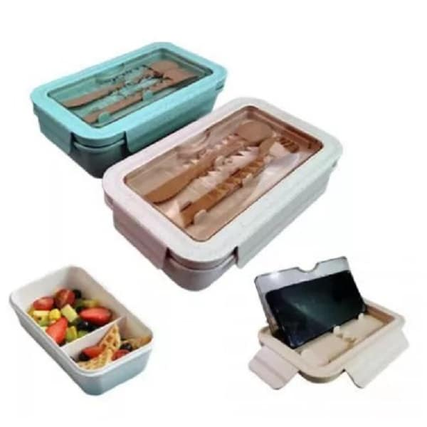 LFLB025 – Eco-friendly wheat lunchbox with spoon and fork